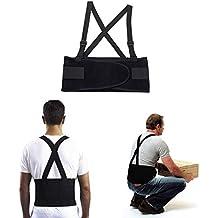 JeVx Faja Lumbar REFORZADA para Hombre y Mujer DOBLE CIERRE y TIRANTES Ajustable Corrector de Espalda