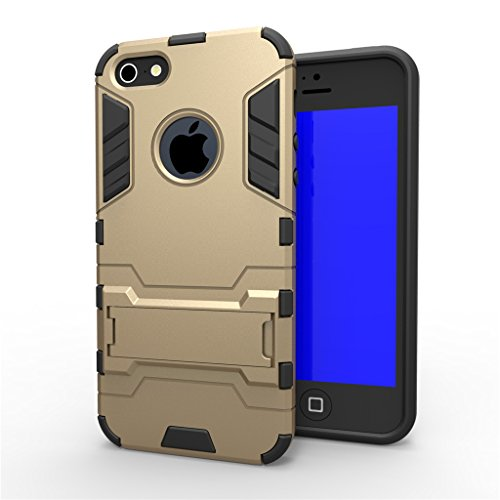 Cuitan 2 in 1 Dual Layer Hybrid Schutzhülle für iPhone 5S / 5 / 5G, TPU Weich Bumper und PC Harte Rückseitige Abdeckung Built-in Ständer Design Rüstung Hülle Handytasche Tasche Case Cover mit Toch Pen Gold