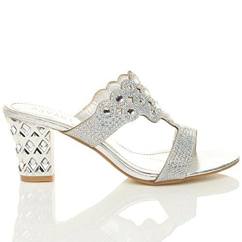 Donna tacco medio alto ritagliare strass sera blocchetto ciabatte sandali taglia Argento
