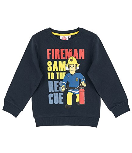 Feuerwehrmann Sam Jungen Sweatshirt - marine blau - 104 (Feuerwehrmann Kinder-sweatshirt)
