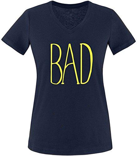 EZYshirt® BAD Damen V-Neck T-Shirt Navy/Gelb