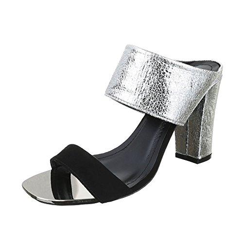 Ital-Design , Sandales pour femme noir/argenté