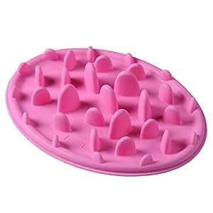Silicone Slow Feeding Non Slip Pet Bowl Slows down eating Pink