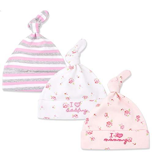 Tukistore 3 Pack Neugeboren Jungen Mädchen Baumwolle Verstellbarer Kappe Mütze weich Slouch Beanie Babymütze Für Baby 0-6 Monate