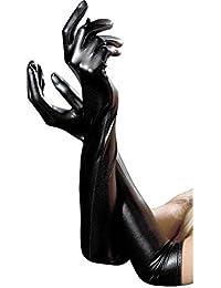 Affe Guantes largos de cuero negro para mujer de lujo Guantes largos para adulto de latex