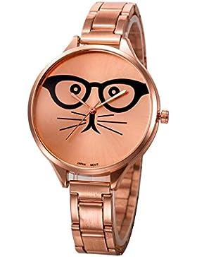 Ouneed® Uhren, Art- und Weisefrauen-Kristallkatze-Edelstahl-analoge Quarz-Armbanduhr-Armband
