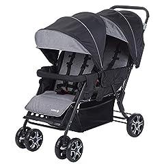 Idea Regalo - Safety 1St Teamy Passeggino Fratellare Gemellare Lineare, Reclinabile, con Parapioggia e Coprigambe, 6 mesi+, Black Chic (Nero)