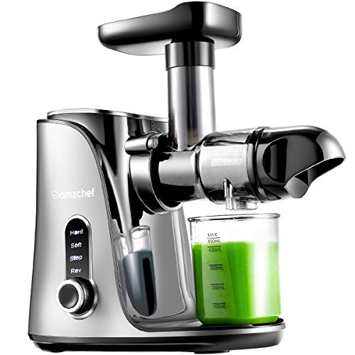 Extracteur de Jus, AMZCHEF Extracteur à Jus de Fruits et Légumes avec 2 vitesses/2 bouteilles d'eau portable (500ml)/écran LED/brosse de nettoyage et moteur silencieux pour légumes et fruits,Gris