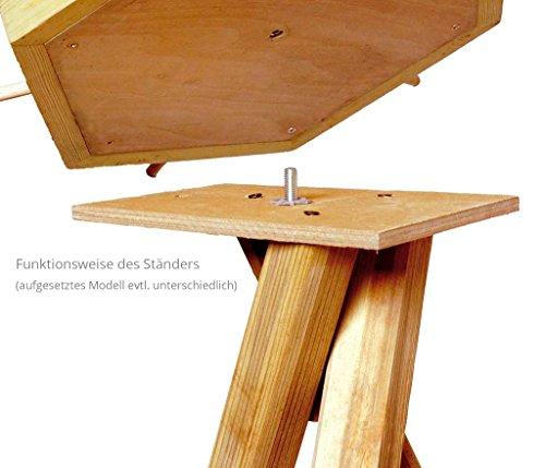 dobar 33310FSC FSC-Winterfutterhaus-Ständer aus imprägniertem Kiefernholz dreibeinig, 60 x 60 x 90 cm - 2