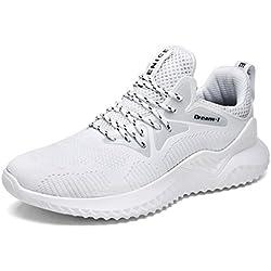 UBFEN Zapatillas de Running Padel para Hombres Zapatos Deportivas Gimnasio Correr Deportes de Exterior y Interior Fitness Casual Sneakers EU 42 A Blanco