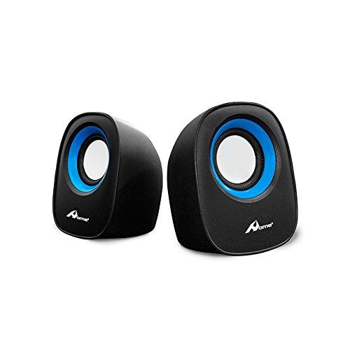 OME - Altavoces para ordenador portátil con USB para conectar con cable de audio Jack 3.5 - 2x2,5W con USB 2.0 modelo Lilly-Azul