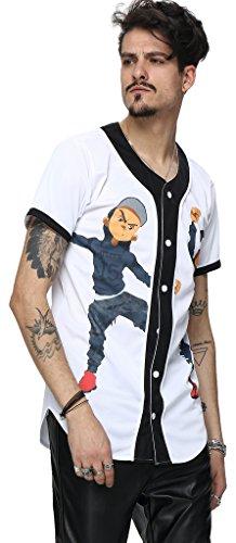 Pizoff Männer-T-Shirt mit Knopfrundhalsausschnitt kurze Ärmel Stil Hip-Hop Baseball Praxis Shirt Kühle lässig Tops Y1724-21-M (Praxis Hoody Sweatshirt)