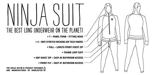 AIRBLASTER® NINJA SUIT Femmes Original Hoodless - Sous-vêtements fonctionnels + Chiffon tubulaire (Fermeture éclair Trous du pouces) Black