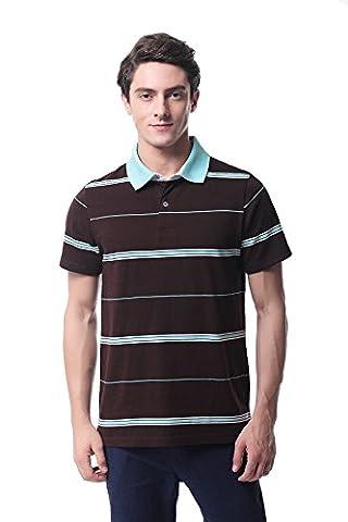 Pau1Hami1ton T-08 Men's 100%Cotton Solid Casual Stripe Short-Sleeve Polo