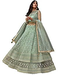 Yami fashion women's embroidery and diamond work semi stitch net with soft silk multi colored Lehenga choli