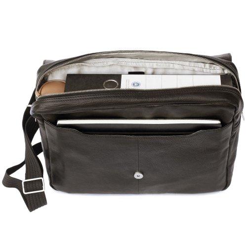 Elegante Laptoptasche Größe M / Notebooktasche bis 14 Zoll, aus Nappa-Leder, für Damen und Herren, Schwarz, Jahn-Tasche 438 Schwarz