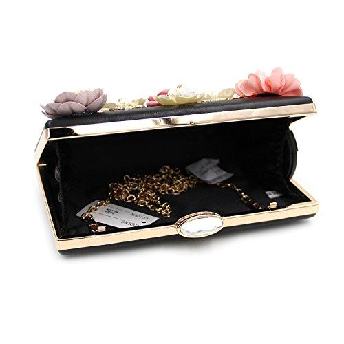 Borse Sera Onorevoli fiori sacchetti Luxury Dinner Party Holding sera borsa da ricamo Black