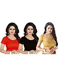 aa91f21cb48629 GOGURL Lycra Cotton Stretchable Free Size Readymade Blouse For Women Set Of  3