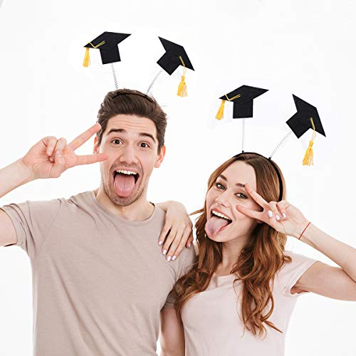 Amosfun 2pcs Graduation Hat Stirnbänder Mini Doctoral Cap Stirnband Kostüm Graduation Cap mit gelben Quasten für Graduation Party Favor Supplies (Bopper Kostüm)