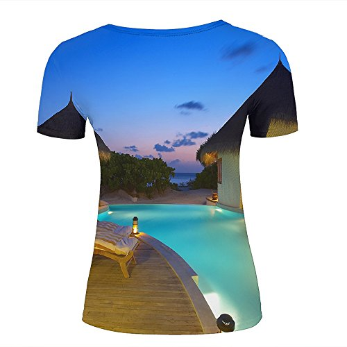 Men T-Shirt 3D Digital Pinted Exotic Resort Swimming Pool Crewneck Casual Tee Shirt Tops C