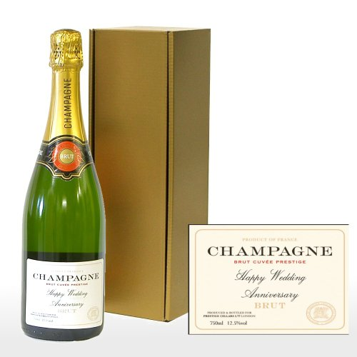 Personalised 'Happy Wedding Anniversary' Premium Fine Champagne in a Gold Gift Box - Gift Ideas for