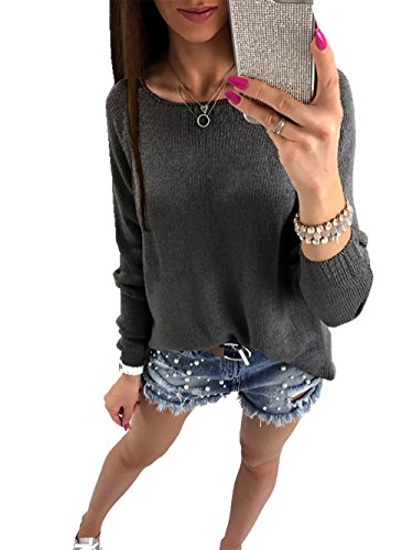 CoCo Fashion Damen Langarm Cardigan Reißverschluss Pullover Leichter Strickjacke Shirt Top, Grau, EU S (Shirt Strick Top)