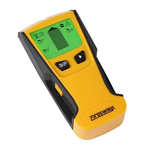 Roswayt Digitaler Multifunktions-Pfosten-, Kabel- und Leitungsfinder/-Detektor mit Display mit Hintergrundbeleuchtung und automatischer Abschaltfunktion - Laser-griff Taschenlampe