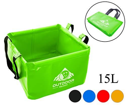 Outdoor Faltschüssel 15 Liter Waschschüssel (02 Grün) (Faltbare Angeln Boot)
