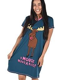 Lazy One Womens Moose Kiss Nightshirt V Neck