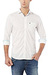 Allen Solly Mens Printed Regular Fit Cotton Casual Shirt (AMSF517G00955_White_44)