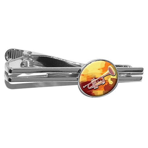 Trompete Player–Band Instrument Musik Messing rund Krawatte Bar Clip Verschluss Tack–Silber (Trompete-krawatte-clip)