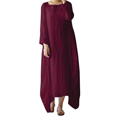 TEBAISE Mid Season Ausverkauf Frauen Besatzung Hals lose beiläufige Feste Baggy Urlaub Reisen Dating Boho langes Kleid(Weinrot,EU-44/CN-XL)