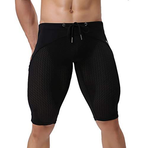 MAYOGO 2019 Neu Herren Patchwork Breathable Boxershorts Badeshorts Beachshorts Boardshorts Männer Elastisch Eng Strand Shorts Badehose Männer Mesh Bandage Lace Up Schwimmhose -