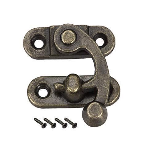 ZCHXD Antique Right Latch Hook Hasp, Swing Arm Latch Plated Bronze 2 pcs w Screws (33mm x 28mm) -