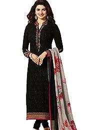 68dd36ce6d Stylish Fashion Women's Georgette Dress Material (TIMELESS-6725_Black_42)