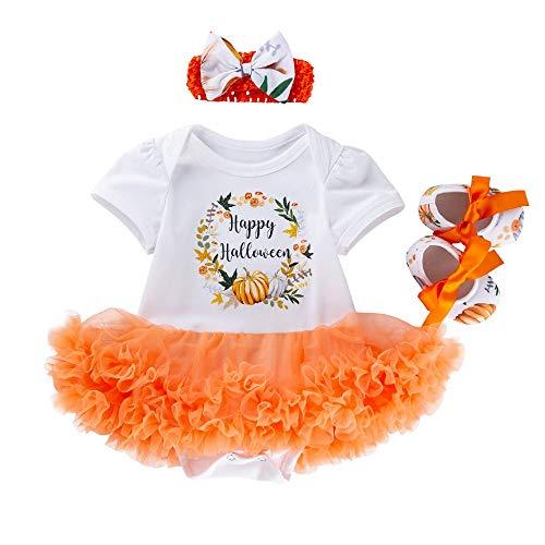 Halloween Kostüm Baby Tutu Kleid Mädchen Prinzessin Kleider Stirnband Strampler Romper Neugeborenen Rock Gedruckt Kleinkinder Outfits Kürbis Kurzarm-Body Fotoshooting Kostüm - Schwangerschaft Halloween Kostüm