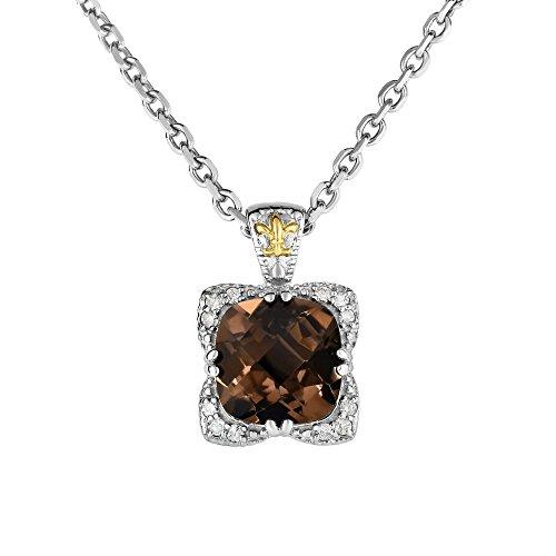 Sterling Anhänger 18kt Gelb Gold 0,12CT Diamant 10mm Kissen Rauchquarz 1,9mm Halskette–46Cent