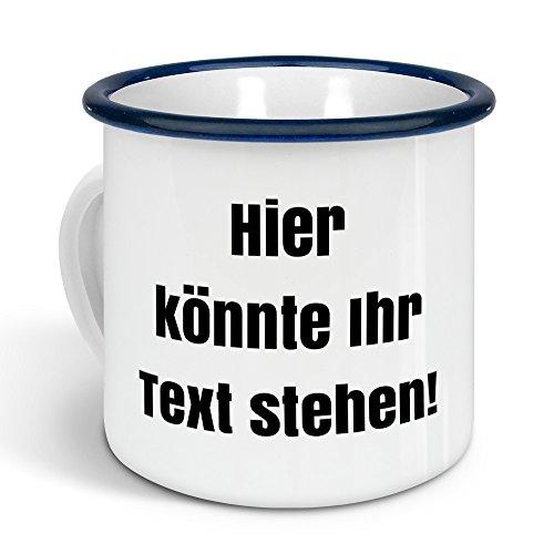 printplanet - Emaille-Tasse mit eigenem Text Bedrucken Lassen - Blechtasse Personalisieren - Nostalgie-Becher mit eigenem Spruch, Farbe Blau, 300ml