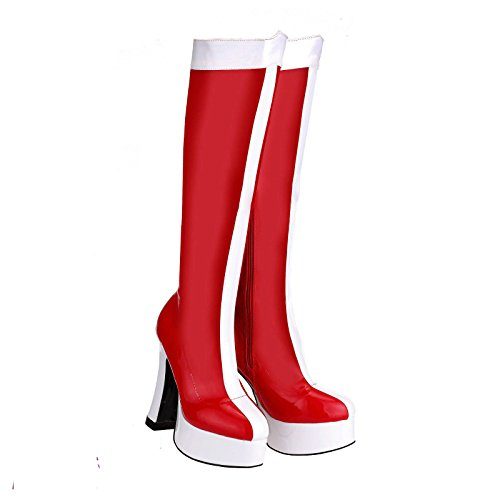 Fancy Dress 80s 90s Red & White Superheld Plattform Retro Mädchen Stiefel (Superhelden Kostüme Stiefel)