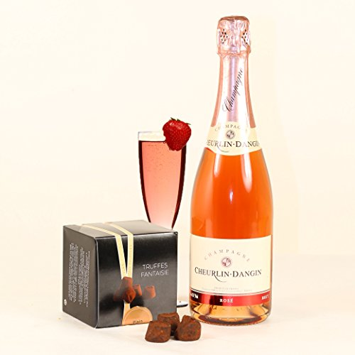 Hay Hampers Rose Pink Champagne & Box of Chocolate Truffles gift box- FREE UK delivery