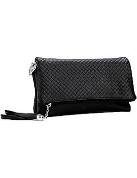 Donalworld Frauen Quaste Reißverschluss Triple-Fach-Leder-Kupplungs-Handtasche weiche PU-Leder Schultertasche