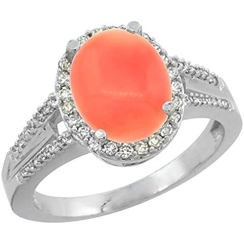 Revoni 14ct de oro blanco de Coral Natural anillo 10 x 8 mm Oval acento de diamante