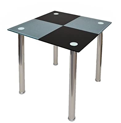 Design dining table kitchen table corner table diamonds black grey made stainless steel with 10 mm Tempered security glass - inexpensive UK dining table store.