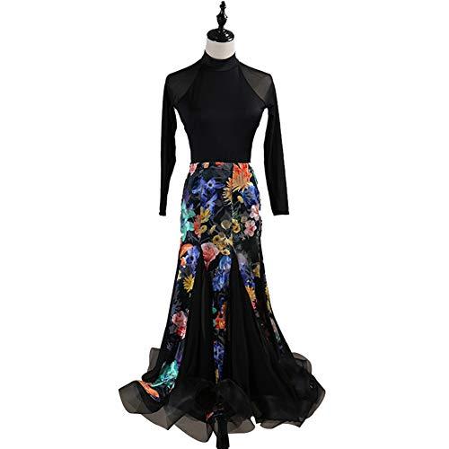 DSDBWQ Gesellschaftstanz Kleider für Frauen Wettbewerb Dancewear Long Sleeves Waltz Tango Dance - Waltz Dance Kostüm