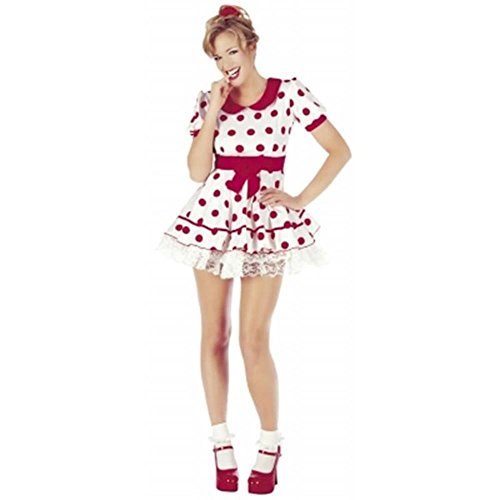 Classified Sexy Polka Dot 50's American Diner Fancy Kleid mit Petticoat, Größen: 8, 10, 12, 14, 16, (60's Diner Kostüm)
