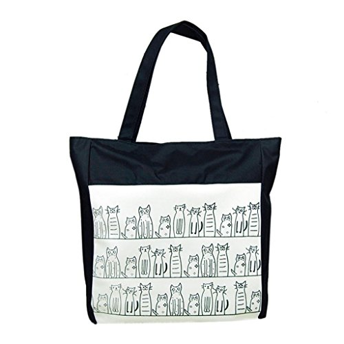 Sannysis® Patrón Gato de la historieta de la lona de las muchachas de compras bolso de mano