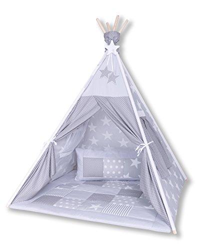 Amilian® Tipi Spielzelt Zelt für Kinder T23 (Spielzelt mit der Tipidecke und Kissen)