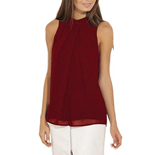 Damen T-Shirt Ärmelloses Sommer Bluse Rückenfrei Vintage Locker Einfarbig Neckholder Mit Knöpfen Große Größen Tank Tops Chiffon-Bluse (Size Sexy Plus Kostüme Billig)