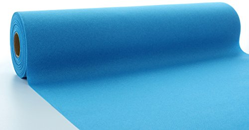 Sovie HORECA Linclass® Airlaid Tischläufer 40 cm x 24 m | Tischdecken-Rolle stoffähnlich | praktische Einmal-Tischdecke für Hochzeit oder Partys | Aqua-Blau