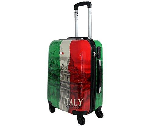 Trolley marca JUSTGLAM da cabina 55 cm valigia rigida 4 ruote in abs policarbonato stampato a fantasia antigraffio e impermeabile compatibile voli lowcost come Easyjet Rayanair art tricolore